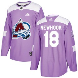 Alex Newhook Colorado Avalanche Youth Adidas Authentic Purple Fights Cancer Practice Jersey