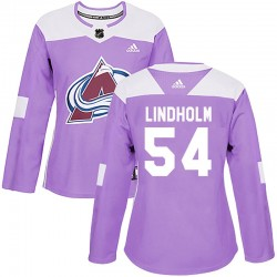 Anton Lindholm Colorado Avalanche Women's Adidas Authentic Purple Fights Cancer Practice Jersey