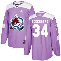 Carl Soderberg Colorado Avalanche Youth Adidas Authentic Purple Fights Cancer Practice Jersey