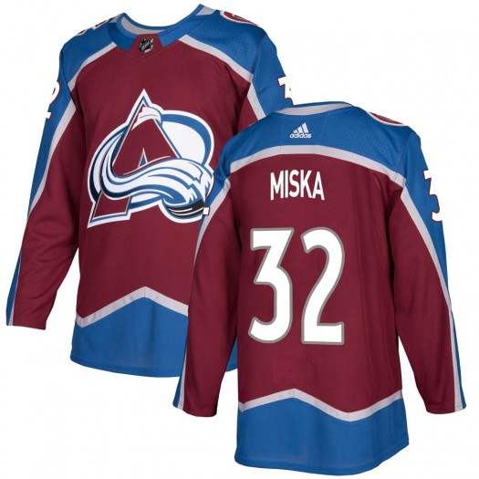 Hunter Miska Colorado Avalanche Youth Adidas Authentic Burgundy Home Jersey