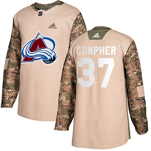 J.t. Compher Colorado Avalanche Men's Adidas Authentic Camo J.T. Compher Veterans Day Practice Jersey