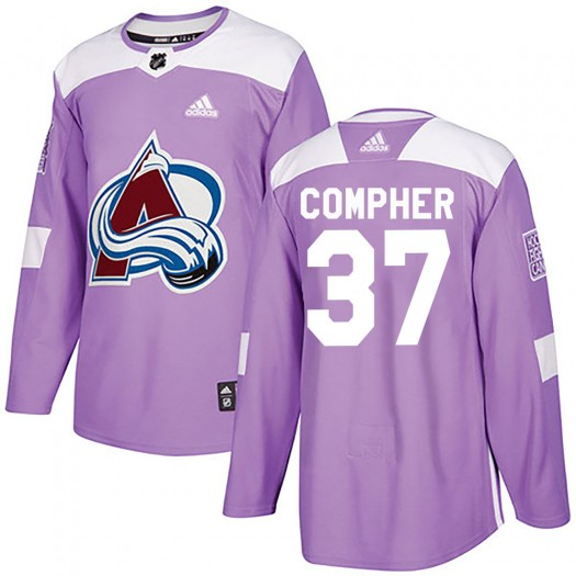J.t. Compher Colorado Avalanche Men's Adidas Authentic Purple J.T. Compher Fights Cancer Practice Jersey