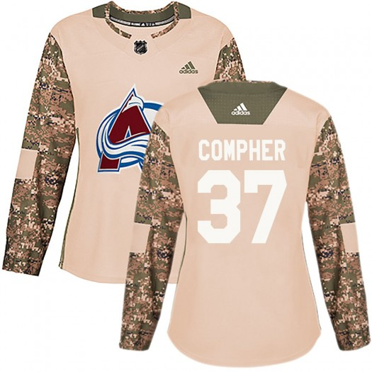 J.t. Compher Colorado Avalanche Women's Adidas Authentic Camo J.T. Compher Veterans Day Practice Jersey