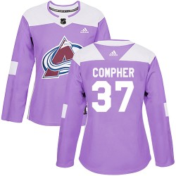 J.t. Compher Colorado Avalanche Women's Adidas Authentic Purple J.T. Compher Fights Cancer Practice Jersey