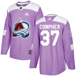 J.t. Compher Colorado Avalanche Youth Adidas Authentic Purple J.T. Compher Fights Cancer Practice Jersey