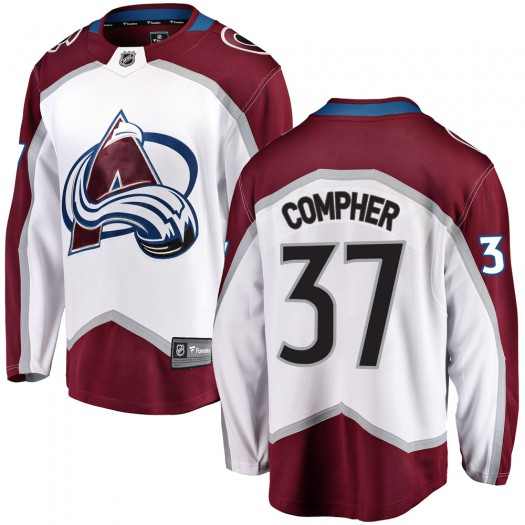 J.t. Compher Colorado Avalanche Youth Fanatics Branded White Breakaway Away Jersey