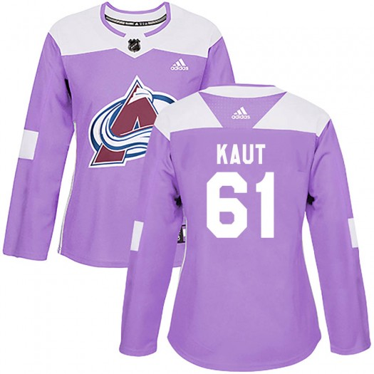 Martin Kaut Colorado Avalanche Women's Adidas Authentic Purple ized Fights Cancer Practice Jersey