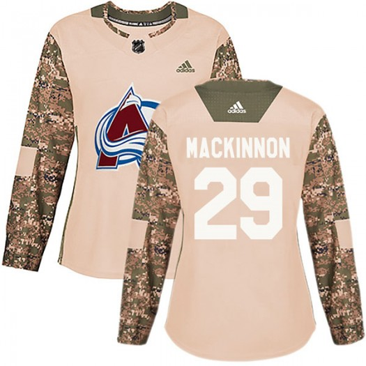 Nathan MacKinnon Colorado Avalanche Women's Adidas Authentic Camo Veterans Day Practice Jersey