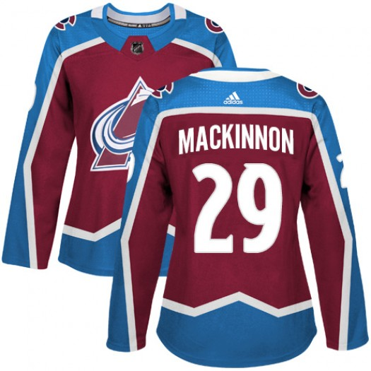 Nathan MacKinnon Colorado Avalanche Women's Adidas Authentic Red Burgundy Home Jersey