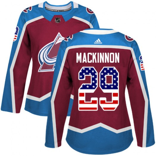 Nathan MacKinnon Colorado Avalanche Women's Adidas Authentic Red Burgundy USA Flag Fashion Jersey