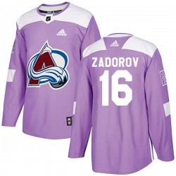 Nikita Zadorov Colorado Avalanche Youth Adidas Authentic Purple Fights Cancer Practice Jersey