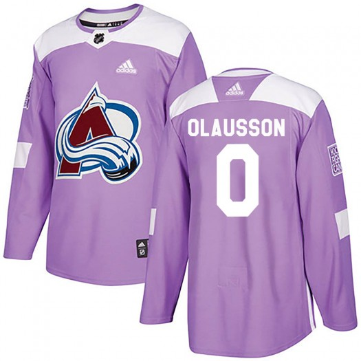 Oskar Olausson Colorado Avalanche Youth Adidas Authentic Purple Fights Cancer Practice Jersey