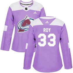 Patrick Roy Colorado Avalanche Women's Adidas Authentic Purple Fights Cancer Practice Jersey