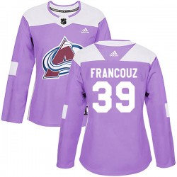 Pavel Francouz Colorado Avalanche Women's Adidas Authentic Purple Fights Cancer Practice Jersey