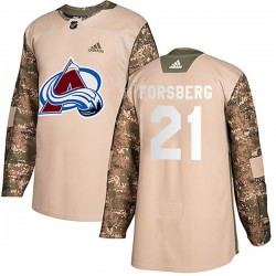 Peter Forsberg Colorado Avalanche Men's Adidas Authentic Camo Veterans Day Practice Jersey