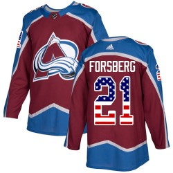 Peter Forsberg Colorado Avalanche Men's Adidas Authentic Red Burgundy USA Flag Fashion Jersey