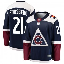 Peter Forsberg Colorado Avalanche Men's Fanatics Branded Navy Breakaway Alternate Jersey