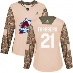 Peter Forsberg Colorado Avalanche Women's Adidas Authentic Camo Veterans Day Practice Jersey