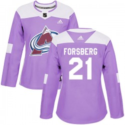 Peter Forsberg Colorado Avalanche Women's Adidas Authentic Purple Fights Cancer Practice Jersey