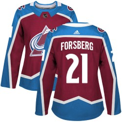 Peter Forsberg Colorado Avalanche Women's Adidas Authentic Red Burgundy Home Jersey