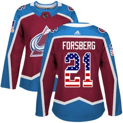 Peter Forsberg Colorado Avalanche Women's Adidas Authentic Red Burgundy USA Flag Fashion Jersey