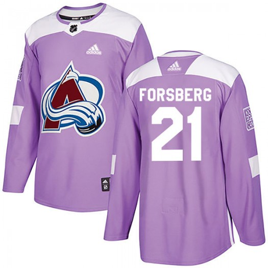 Peter Forsberg Colorado Avalanche Youth Adidas Authentic Purple Fights Cancer Practice Jersey