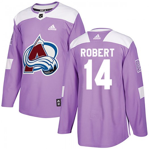 Rene Robert Colorado Avalanche Youth Adidas Authentic Purple Fights Cancer Practice Jersey