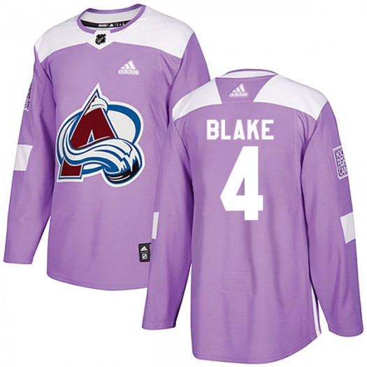 Rob Blake Colorado Avalanche Men's Adidas Authentic Purple Fights Cancer Practice Jersey