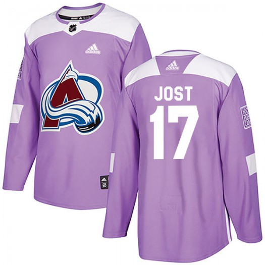 Tyson Jost Colorado Avalanche Men's Adidas Authentic Purple Fights Cancer Practice Jersey