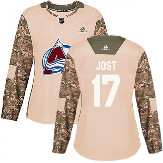 Tyson Jost Colorado Avalanche Women's Adidas Authentic Camo Veterans Day Practice Jersey