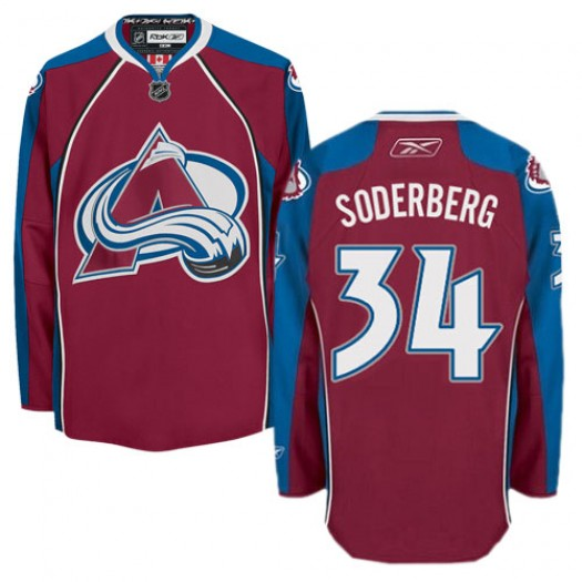 Carl Soderberg Colorado Avalanche Men's Reebok Authentic Red Burgundy Home Jersey