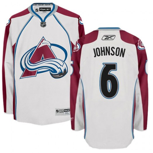 Erik Johnson Colorado Avalanche Men's Reebok Authentic White Away Jersey