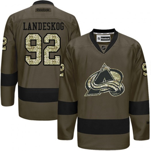 Gabriel Landeskog Colorado Avalanche Men's Reebok Authentic Green Salute to Service Jersey