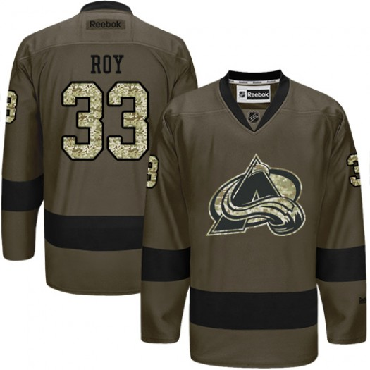 Patrick Roy Colorado Avalanche Men's Reebok Authentic Green Salute to Service Jersey