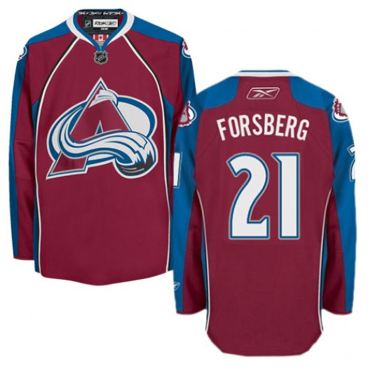 Peter Forsberg Colorado Avalanche Men's Reebok Authentic Red Burgundy Home Jersey