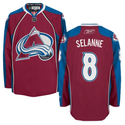 Teemu Selanne Colorado Avalanche Men's Reebok Authentic Red Burgundy Home Jersey