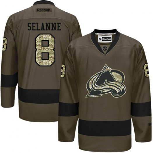 Teemu Selanne Colorado Avalanche Men's Reebok Authentic Green Salute to Service Jersey