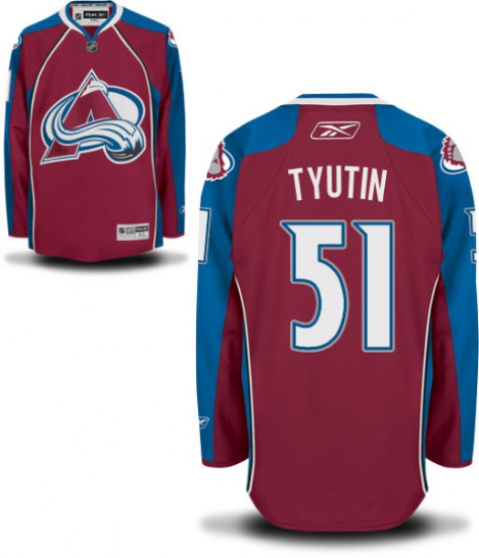 Fedor Tyutin Colorado Avalanche Men's Reebok Replica Home JerseyBurgundy