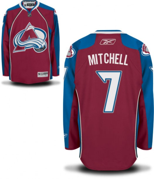 John Mitchell Colorado Avalanche Men's Reebok Authentic Home JerseyBurgundy