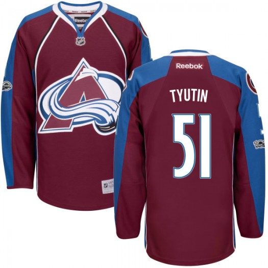 Fedor Tyutin Colorado Avalanche Youth Reebok Authentic Maroon Home Centennial Patch Jersey