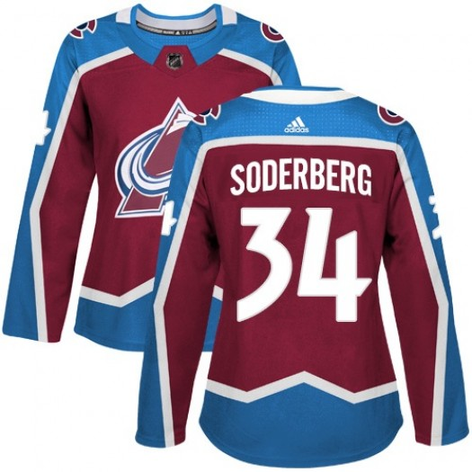 Carl Soderberg Colorado Avalanche Women's Adidas Authentic Red Burgundy Home Jersey