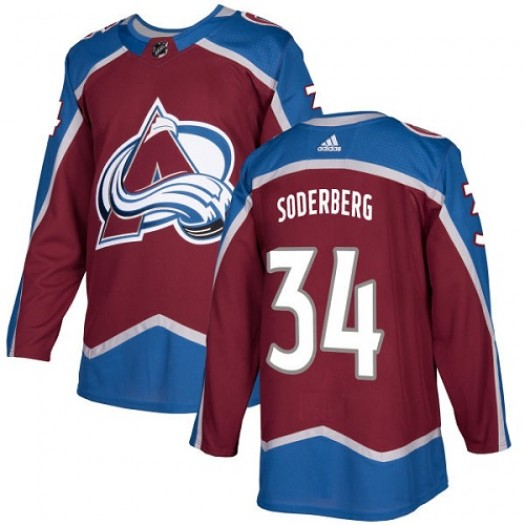 Carl Soderberg Colorado Avalanche Youth Adidas Authentic Red Burgundy Home Jersey