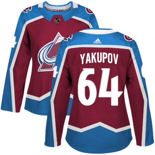 Nail Yakupov Colorado Avalanche Women's Adidas Authentic Red Burgundy Home Jersey