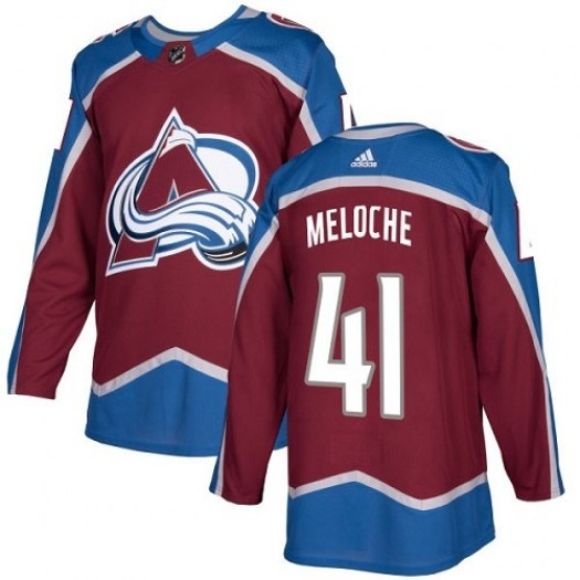 Nicolas Meloche Colorado Avalanche Youth Adidas Authentic Red Burgundy Home Jersey