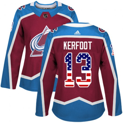 Alexander Kerfoot Colorado Avalanche Women's Adidas Authentic Red Burgundy USA Flag Fashion Jersey