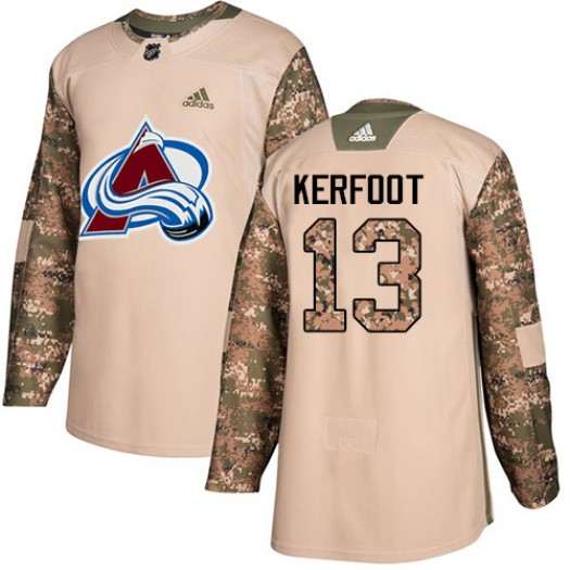Alexander Kerfoot Colorado Avalanche Youth Adidas Authentic Camo Veterans Day Practice Jersey