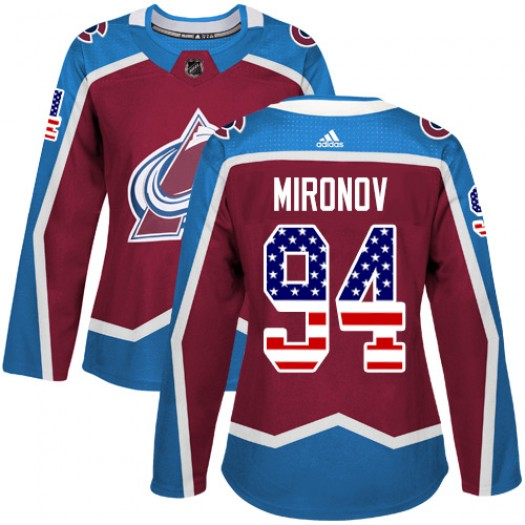 Andrei Mironov Colorado Avalanche Women's Adidas Authentic Red Burgundy USA Flag Fashion Jersey