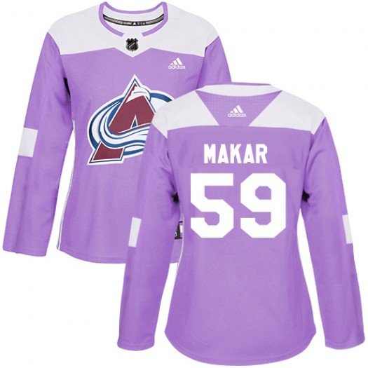 Cale Makar Colorado Avalanche Women's Adidas Authentic Purple Fights Cancer Practice Jersey