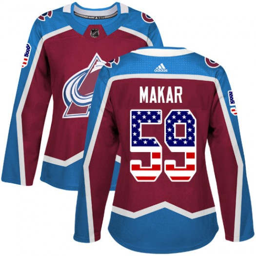 Cale Makar Colorado Avalanche Women's Adidas Authentic Red Burgundy USA Flag Fashion Jersey
