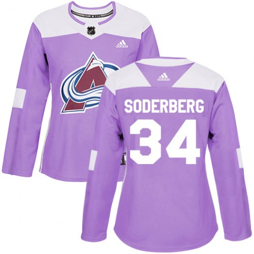 Carl Soderberg Colorado Avalanche Women's Adidas Authentic Purple Fights Cancer Practice Jersey